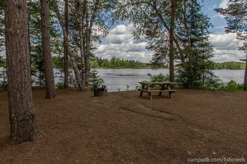 Campsite Photo of Site 277 at Fish Creek Pond Campground, New York - Looking at Site from Part Way In