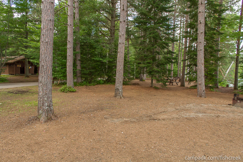 Campsite Photo of Site 277 at Fish Creek Pond Campground, New York - Cross Site View