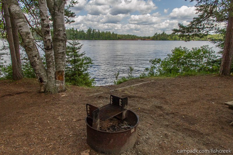 Campsite Photo of Site 277 at Fish Creek Pond Campground, New York - Fireplace View