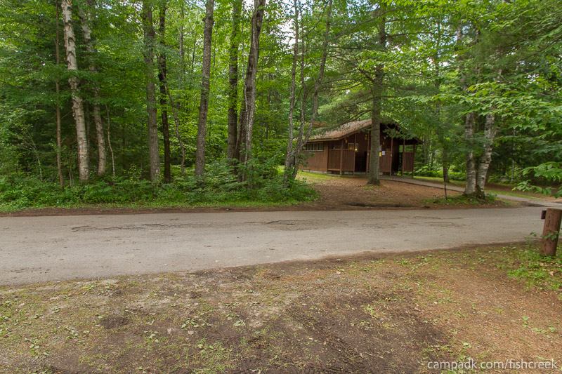 Campsite Photo of Site 277 at Fish Creek Pond Campground, New York - Looking Back Towards Road