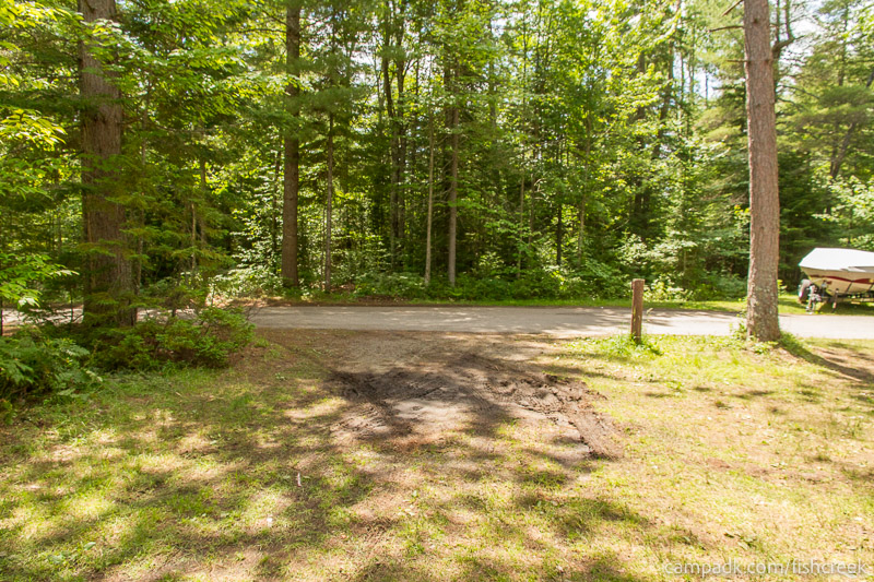 Campsite Photo of Site 278 at Fish Creek Pond Campground, New York - Looking Back Towards Road
