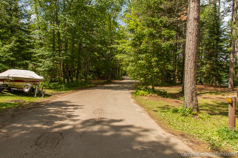 Campsite Photo of Site 278 at Fish Creek Pond Campground, New York - View Down Road from Campsite