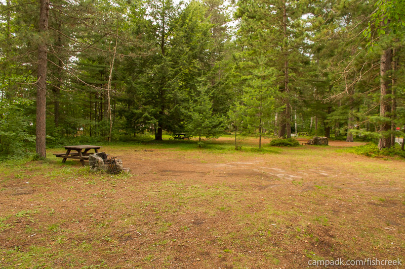 Campsite Photo of Site A10 at Fish Creek Pond Campground, New York - Looking at Site from Part Way In