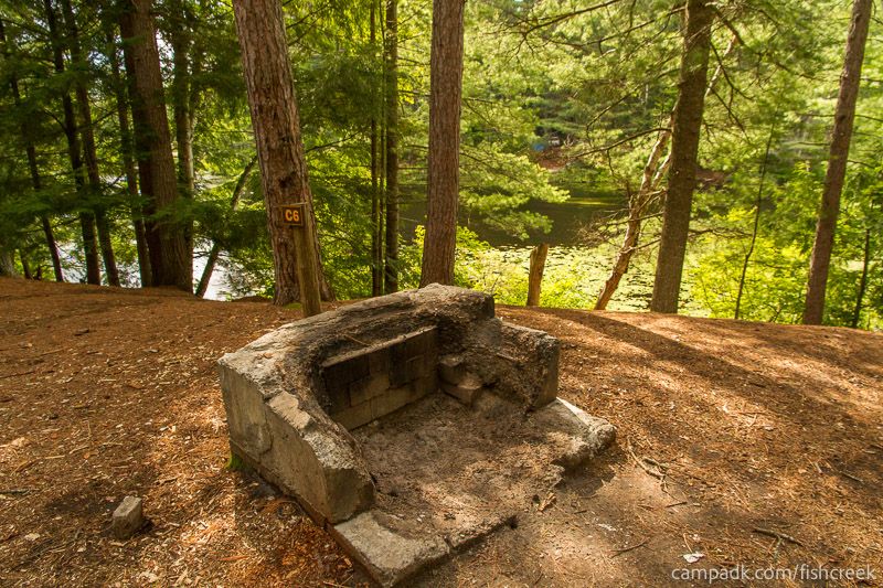 Campsite Photo of Site C6 at Fish Creek Pond Campground, New York - Fireplace View