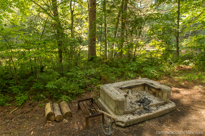 Campsite Photo of Site C15 at Fish Creek Pond Campground, New York - Fireplace View