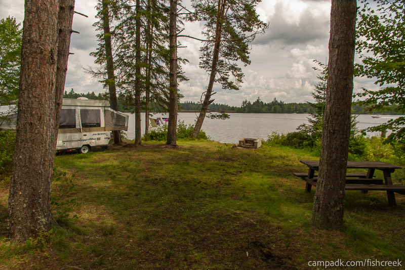 Campsite Photo of Site 281 at Fish Creek Pond Campground, New York - Looking at Site from Part Way In