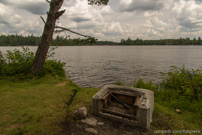 Campsite Photo of Site 281 at Fish Creek Pond Campground, New York - Fireplace View