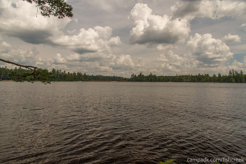 Campsite Photo of Site 281 at Fish Creek Pond Campground, New York - View from Shoreline