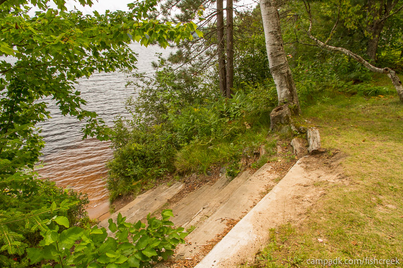 Campsite Photo of Site 53 at Fish Creek Pond Campground, New York - Pathway Down to Water