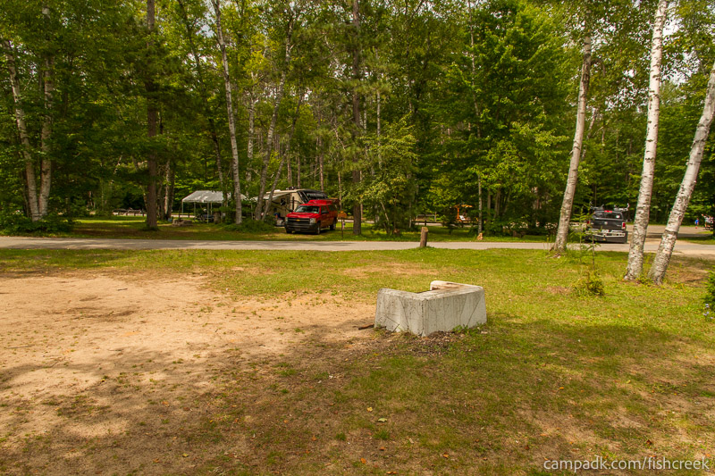 Campsite Photo of Site 53 at Fish Creek Pond Campground, New York - Looking Back Towards Road