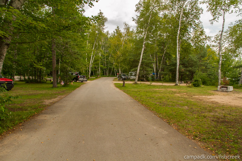 Campsite Photo of Site 53 at Fish Creek Pond Campground, New York - View Down Road from Campsite