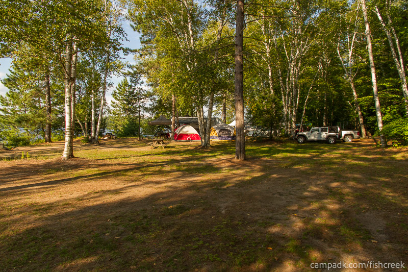 Campsite Photo of Site 186 at Fish Creek Pond Campground, New York - Cross Site View