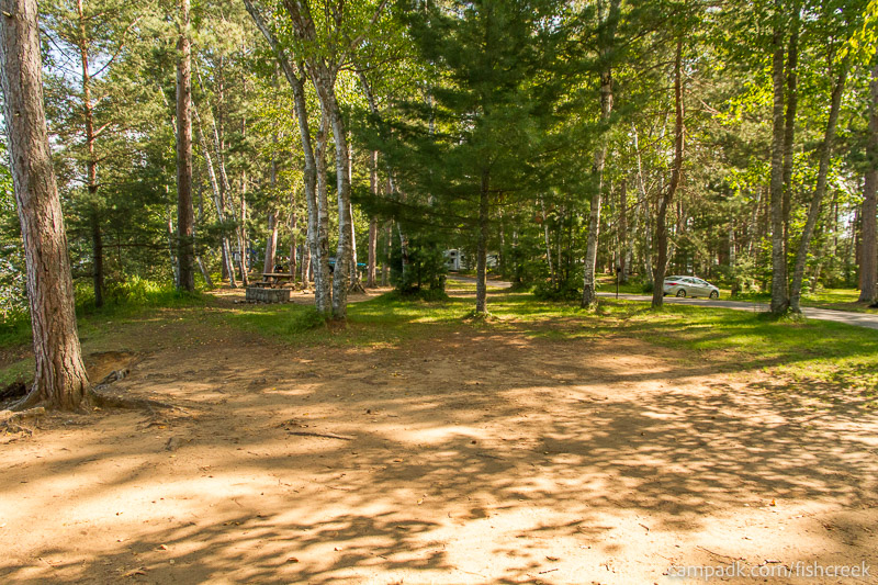 Campsite Photo of Site 56 at Fish Creek Pond Campground, New York - Cross Site View