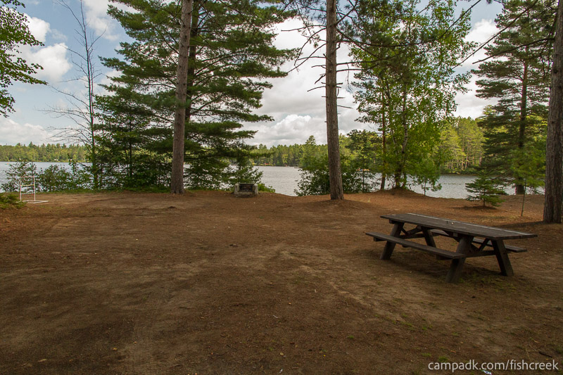 Campsite Photo of Site 249 at Fish Creek Pond Campground, New York - Looking at Site from Part Way In