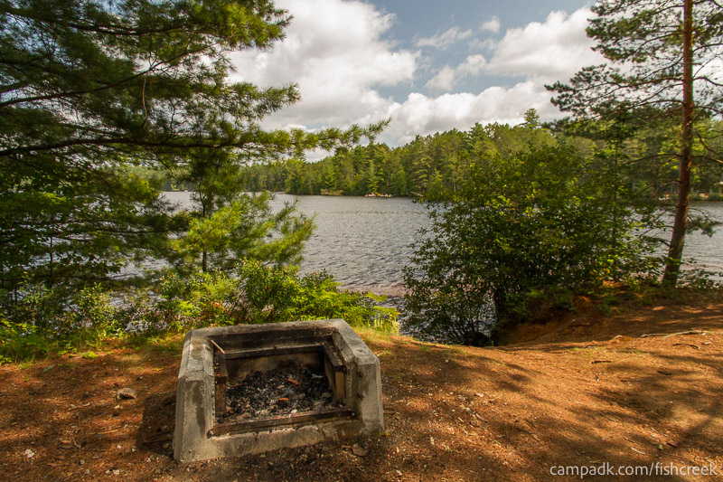 Campsite Photo of Site 249 at Fish Creek Pond Campground, New York - Fireplace View