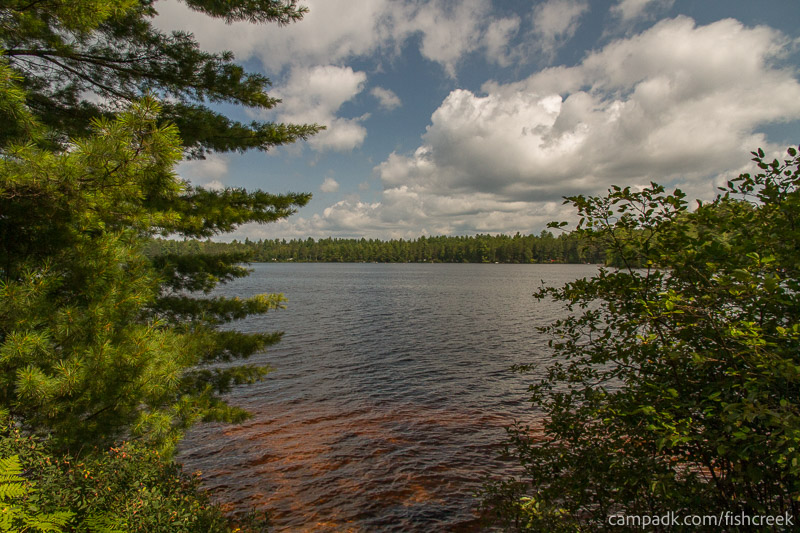 Campsite Photo of Site 249 at Fish Creek Pond Campground, New York - View from Shoreline