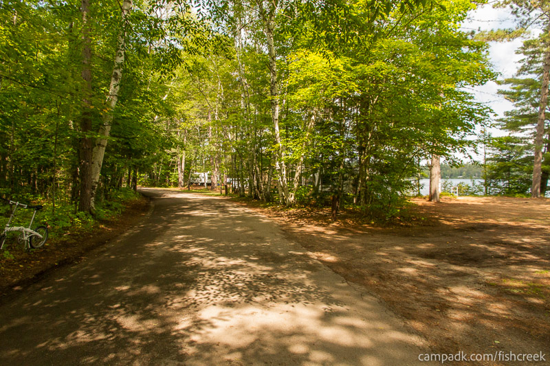 Campsite Photo of Site 249 at Fish Creek Pond Campground, New York - View Down Road from Campsite