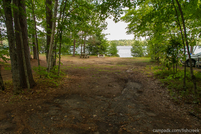 Campsite Photo of Site 197 at Fish Creek Pond Campground, New York - Looking at Site from Road