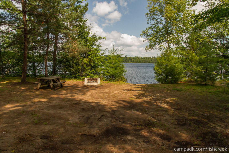 Campsite Photo of Site 197 at Fish Creek Pond Campground, New York - Looking at Site from Part Way In