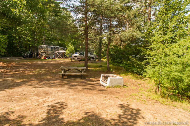 Campsite Photo of Site 197 at Fish Creek Pond Campground, New York - Cross Site View