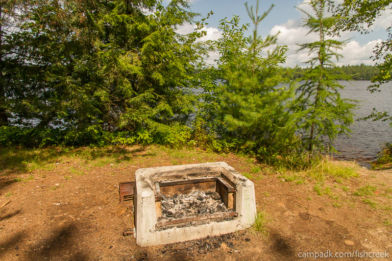 Campsite Photo of Site 197 at Fish Creek Pond Campground, New York - Fireplace View