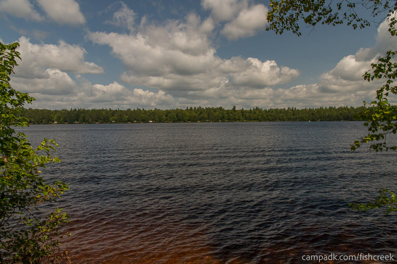 Campsite Photo of Site 197 at Fish Creek Pond Campground, New York - View from Shoreline