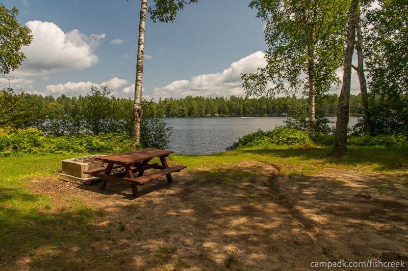 Campsite Photo of Site 62 at Fish Creek Pond Campground, New York - Looking at Site from Part Way In