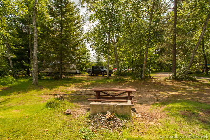 Campsite Photo of Site 62 at Fish Creek Pond Campground, New York - Cross Site View