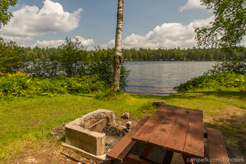 Campsite Photo of Site 62 at Fish Creek Pond Campground, New York - Fireplace View