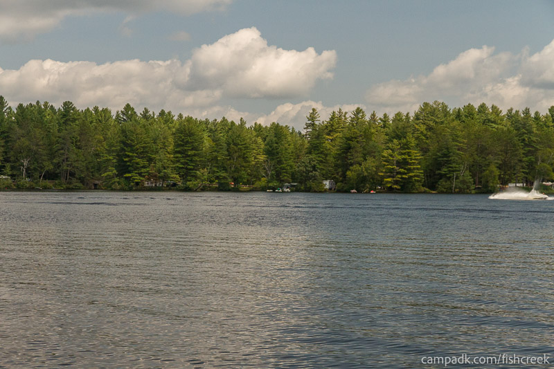Campsite Photo of Site 62 at Fish Creek Pond Campground, New York - View from Shoreline