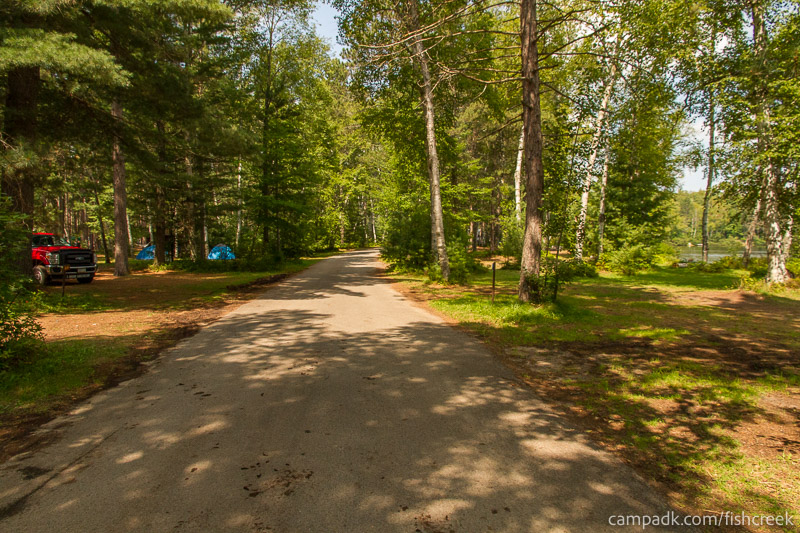 Campsite Photo of Site 62 at Fish Creek Pond Campground, New York - View Down Road from Campsite