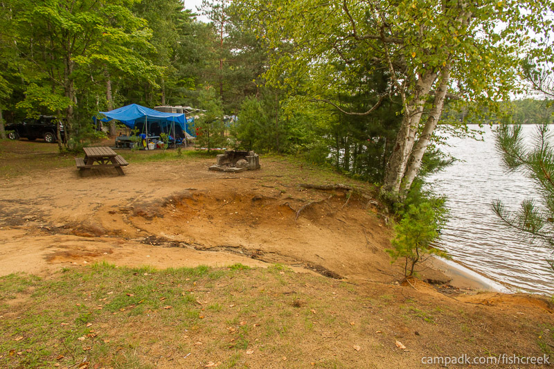 Campsite Photo of Site 198 at Fish Creek Pond Campground, New York - Cross Site View