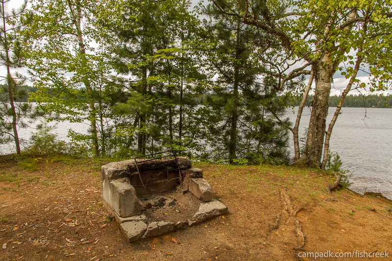 Campsite Photo of Site 198 at Fish Creek Pond Campground, New York - Fireplace View