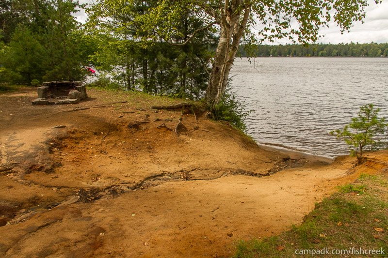 Campsite Photo of Site 198 at Fish Creek Pond Campground, New York - Shoreline