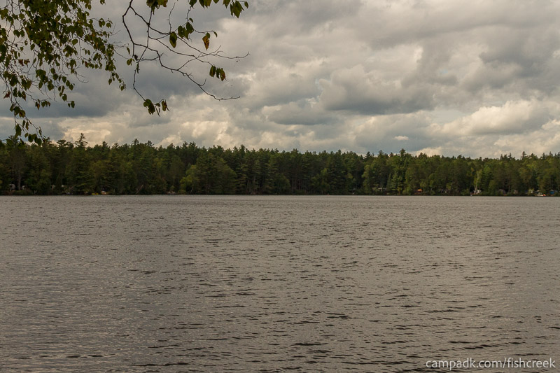 Campsite Photo of Site 198 at Fish Creek Pond Campground, New York - View from Shoreline