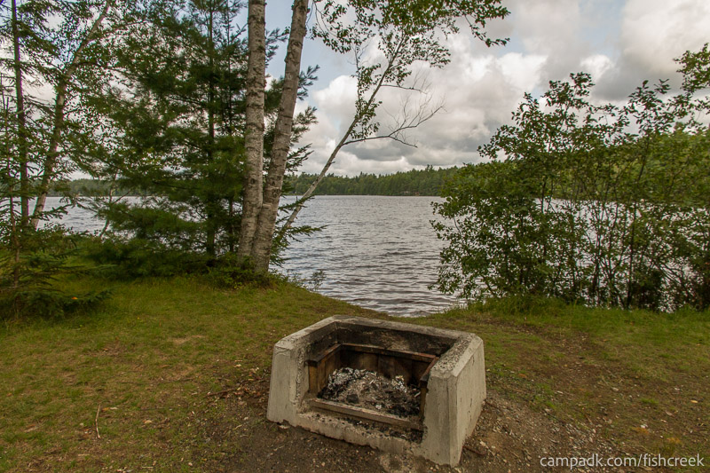 Campsite Photo of Site 234 at Fish Creek Pond Campground, New York - Fireplace View