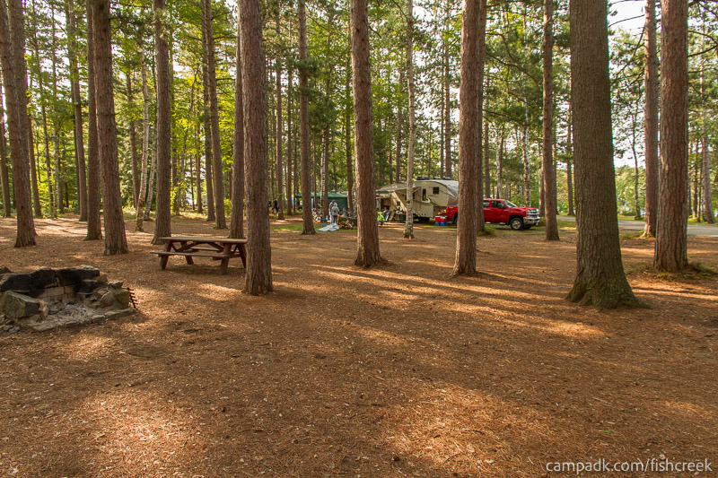 Campsite Photo of Site A18 at Fish Creek Pond Campground, New York - Cross Site View
