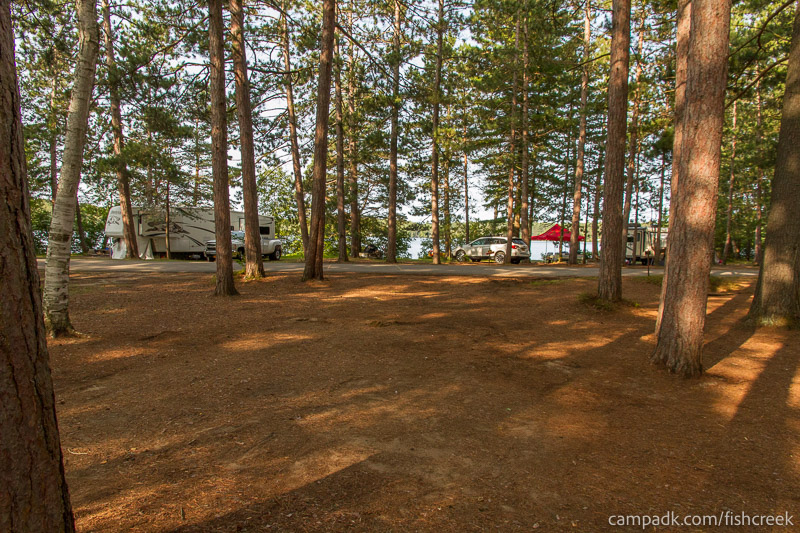 Campsite Photo of Site A18 at Fish Creek Pond Campground, New York - Looking Back Towards Road