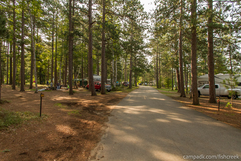 Campsite Photo of Site A18 at Fish Creek Pond Campground, New York - View Down Road from Campsite
