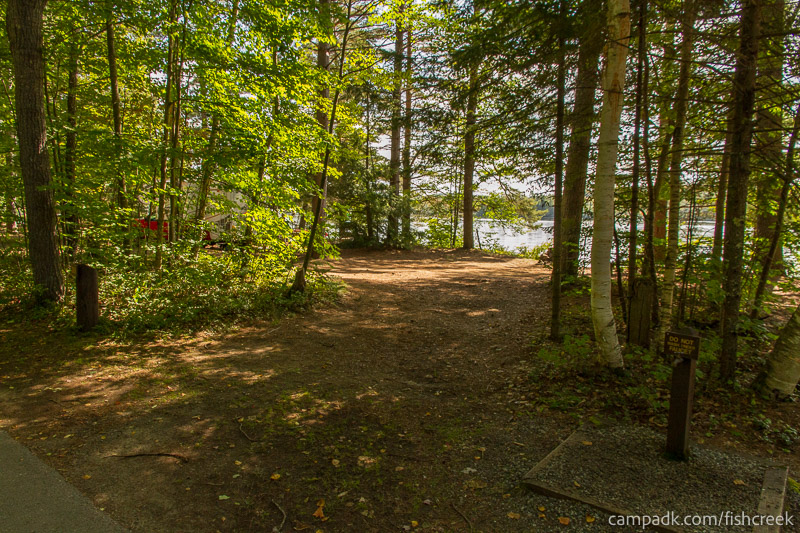 Campsite Photo of Site 261 at Fish Creek Pond Campground, New York - Looking at Site from Road
