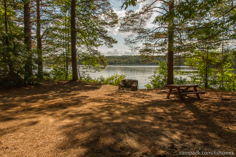 Campsite Photo of Site 261 at Fish Creek Pond Campground, New York - Looking at Site from Part Way In