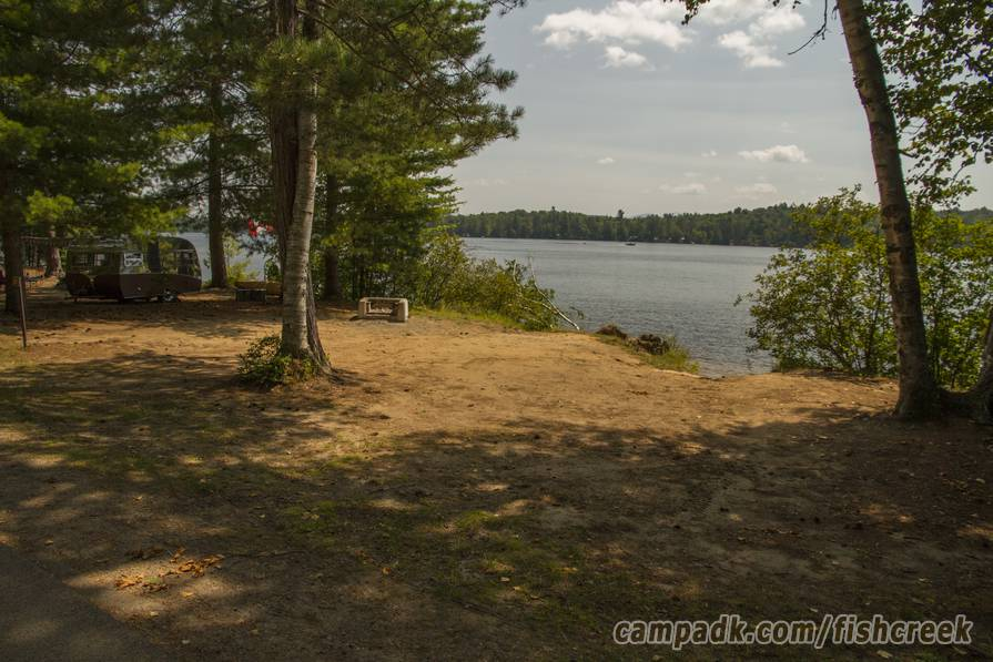Campsite Photo of Site 121 at Fish Creek Pond Campground, New York - Looking at Site from Road