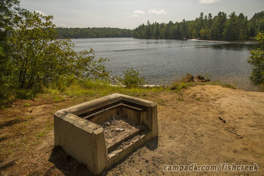 Campsite Photo of Site 121 at Fish Creek Pond Campground, New York - Fireplace View