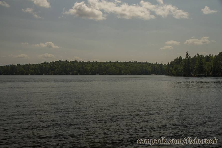 Campsite Photo of Site 121 at Fish Creek Pond Campground, New York - View from Shoreline