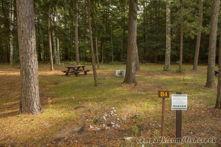 Campsite Photo of Site B4 at Fish Creek Pond Campground, New York - Fireplace View (New)