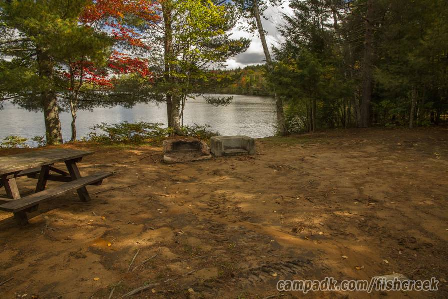 Campsite Photo of Site 305 at Fish Creek Pond Campground, New York - Fireplace View (New)