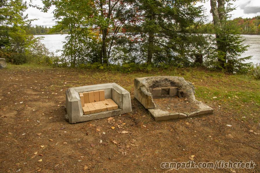 Campsite Photo of Site 304 at Fish Creek Pond Campground, New York - Fireplace View (New)