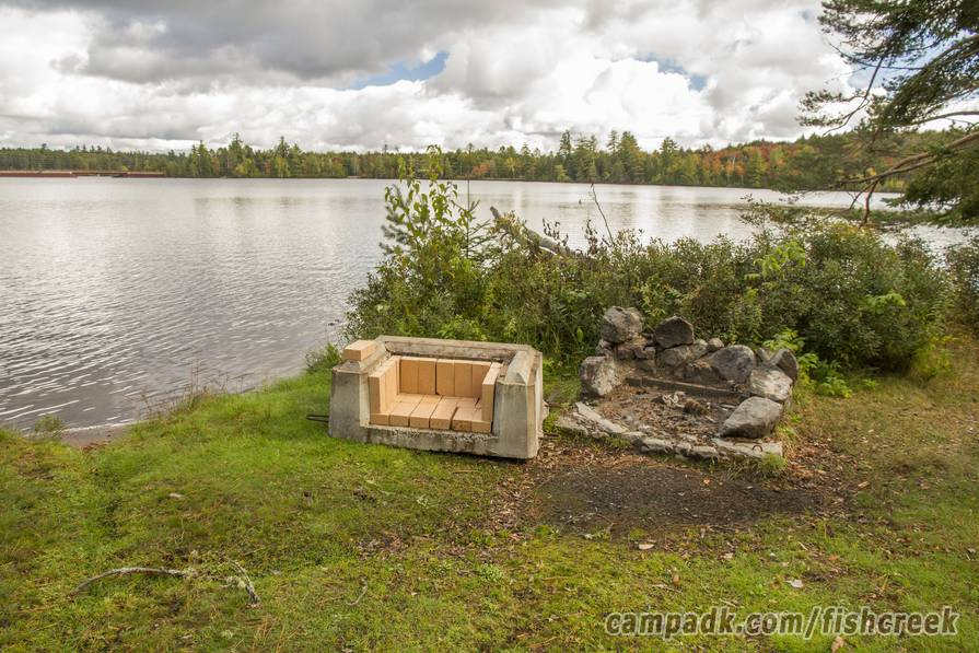 Campsite Photo of Site 287 at Fish Creek Pond Campground, New York - Fireplace View (New)