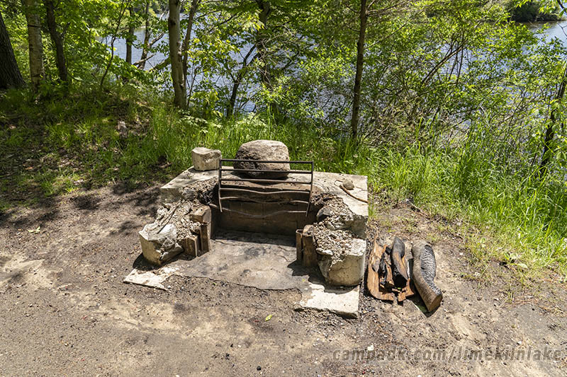 Campsite Photo of Site 5 at Limekiln Lake Campground, New York - Fireplace View