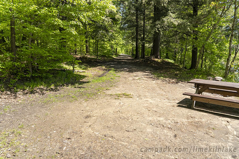 Campsite Photo of Site 5 at Limekiln Lake Campground, New York - Looking Back Towards Road
